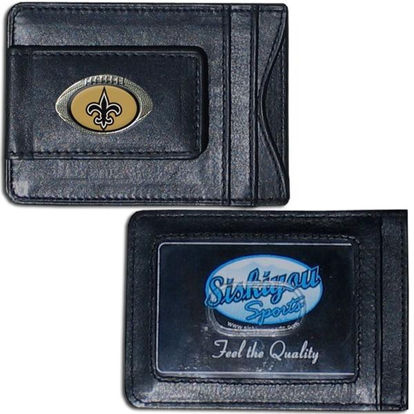 NFL New Orleans Saints Leather Money Clip and Cardholder