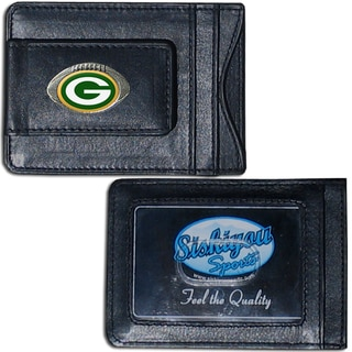 NFL Green Bay Packers Leather Money Clip and Cardholder