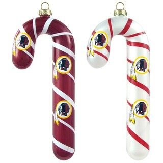 NFL Washington Redskins Glass Candy Cane Ornaments