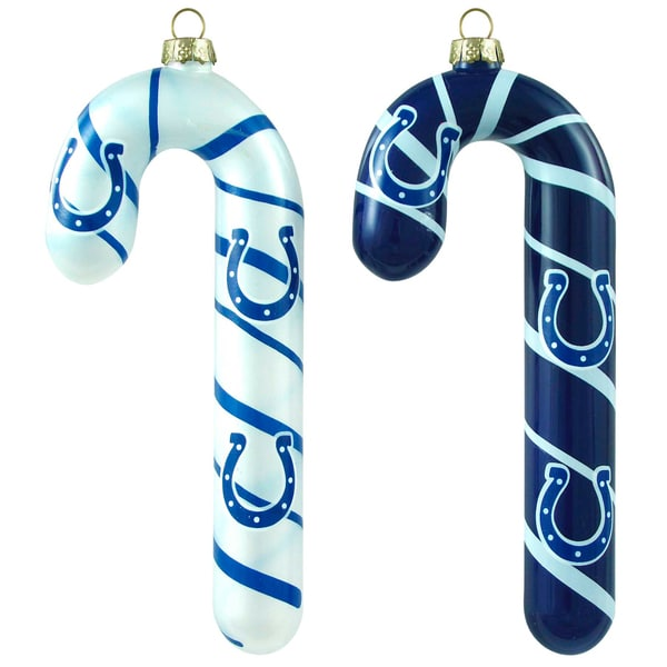 NFL Indianapolis Colts Blown Glass Candy Cane Ornaments