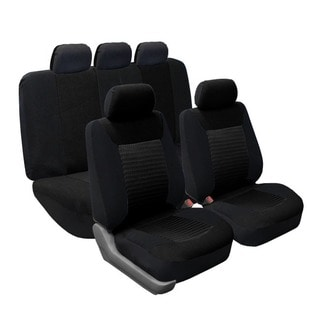 FH Group Black Premium Fabric Airbag Compatible Car Seat Covers (Full Set)