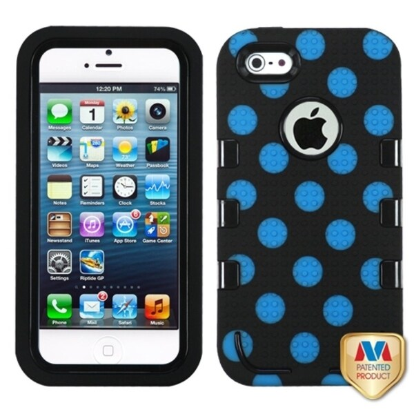 INSTEN Polka Dots TUFF eNUFF Hybrid Phone Case Cover for Apple iPhone 5 / 5S / SE
