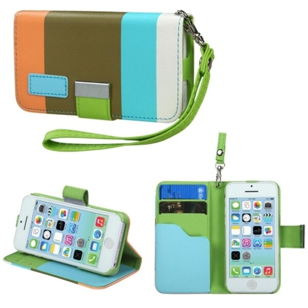 INSTEN Sky Blue/ Olive Green Wallet Phone Case Cover for Apple iPhone 5C