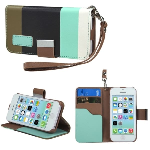 INSTEN Baby Blue/ Black/ Grey Wallet Phone Case Cover for Apple iPhone 5C