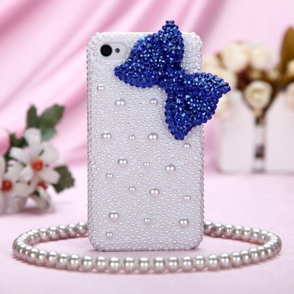 INSTEN Dark Blue Bow/ Pearl 3D Diamante Phone Case Cover for Apple iPhone 4S/ 4