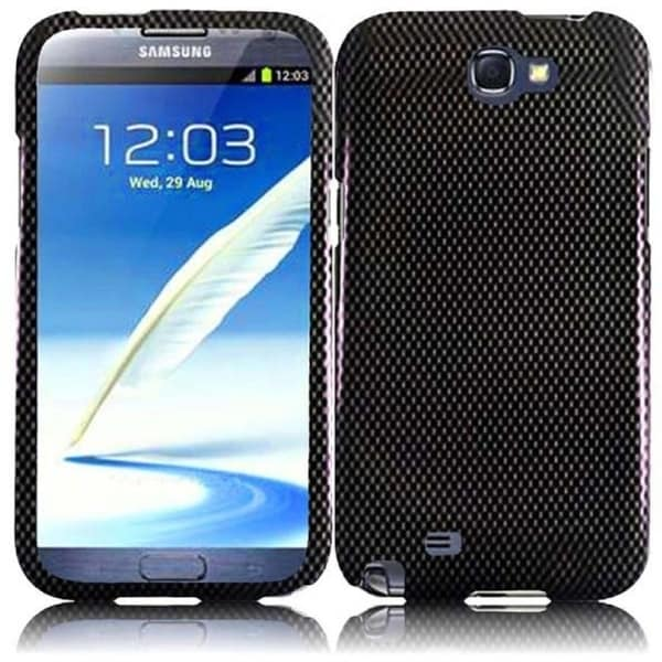 INSTEN Premium Black Carbon Fiber Hard Plastic PC Snap-on Phone Case Cover for Samsung Galaxy Note II