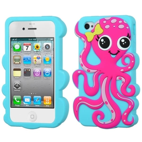 INSTEN Hot Pink/ Baby Blue Octopus Pastel Phone Case Cover for Apple iPhone 4S/ 4