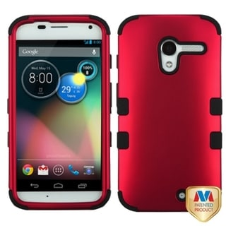 INSTEN Titanium Red/ Black TUFF Hybrid Phone Case Cover for Motorola Moto X