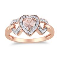 Miadora Rose Plated Silver Morganite and 1/8ct TDW Diamond Ring (H-I, I2-I3)