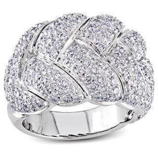 Miadora 18k White Gold 3ct TDW Diamond Basket Weave Ring (G-H, SI2-I1)