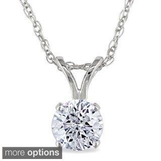 Miadora 14k Gold 1/2ct TDW Diamond Solitaire Necklace