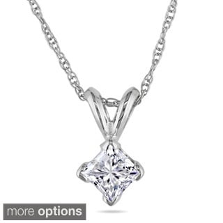Miadora 14k Gold 1/2ct TDW Diamond Solitaire Necklace