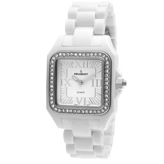Peugeot Women's '7062WT' Austrian Crystal Bezel White Acrylic Watch