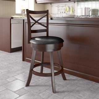 CorLiving Woodgrove Cross Back Espresso/ Black Wooden Barstool