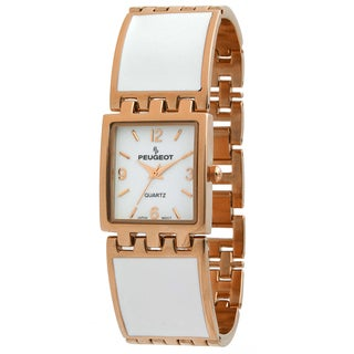 Peugeot Women's '7041WRG' Rose Gold White Enamel Link Watch