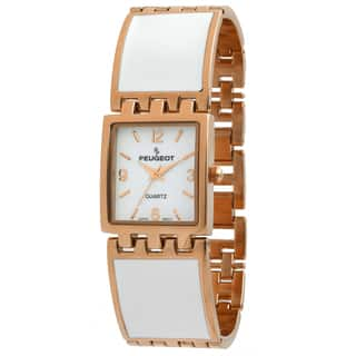 Peugeot Women's '7041WRG' Rose Gold White Enamel Link Watch|https://ak1.ostkcdn.com/images/products/8555254/Peugeot-Womens-7041WRG-Rose-Gold-White-Enamel-Link-Watch-P15832778.jpg?impolicy=medium