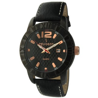 Peugeot Men's '2037BK' Black Leather Sport Bezel Watch