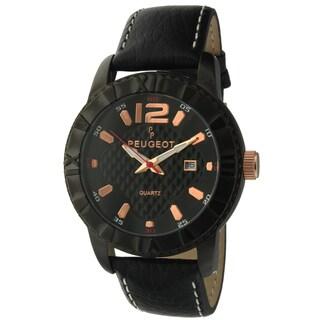 Peugeot Men's '2037BK' Black Leather Sport Bezel Watch