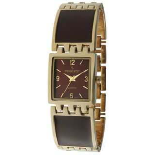 Peugeot Women's '7041BR' Goldtone Brown Enamel Link Watch