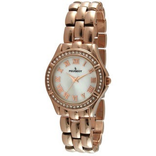 Peugeot Women's '7037RG' Austrian Crystal Bezel Rose Gold Bracelet Watch
