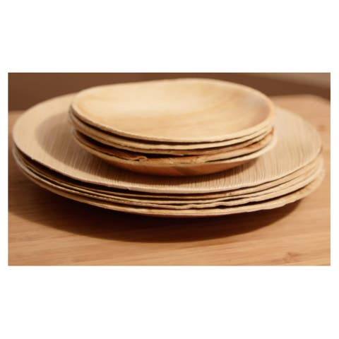 Handmade Pack of 100 Compostable Round Palm Leaf Plates (India)