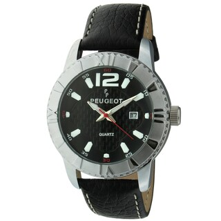Peugeot Men's '2037S' Black Leather Sport Bezel Watch