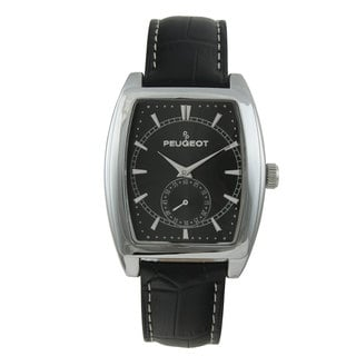 Peugeot Men's 2027BK Black Leather Strap Sweep Dial Watch