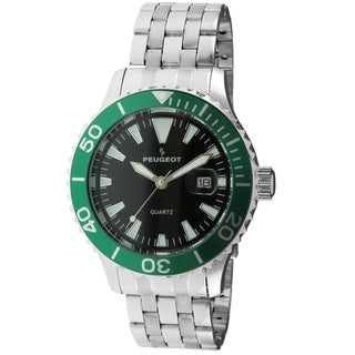 Peugeot Men's '1028SGR' Silver-Tone Ratchet Green Sport Bezel Watch