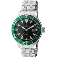Peugeot Men's '1028SGR' Silver-Tone Ratchet Green Sport Bezel Watch - silver