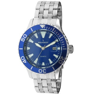 Peugeot Men's '1028SBL' Silvertone Ratchet Blue Sport Bezel Watch
