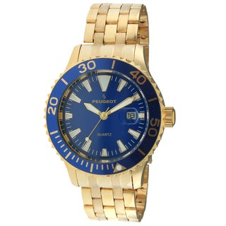 Peugeot Men's 1028GBL Gold-Tone Ratchet Blue Sport Bezel Watch