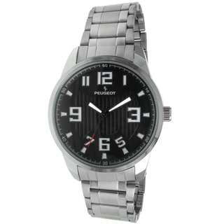 Peugeot Men's '1026BK' Silver-Tone Carbon Fiber Cutout Dial Watch