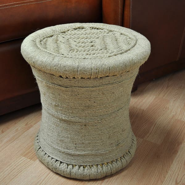 Super All Natural 17 Inch Wrapped Jute Ottoman Stool Cjindustries Chair Design For Home Cjindustriesco