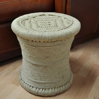 All Natural 17-inch Wrapped Jute Ottoman / Stool