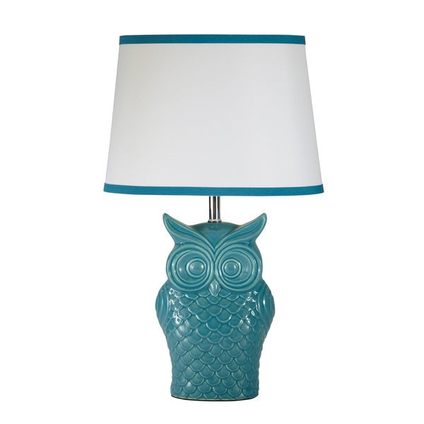 Shop blue owl table lamp free shipping today overstock 8556130 blue owl table lamp aloadofball Choice Image
