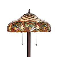 Warehouse of Tiffany 'Arielle' Ivory Tiffany Style Floor Lamp