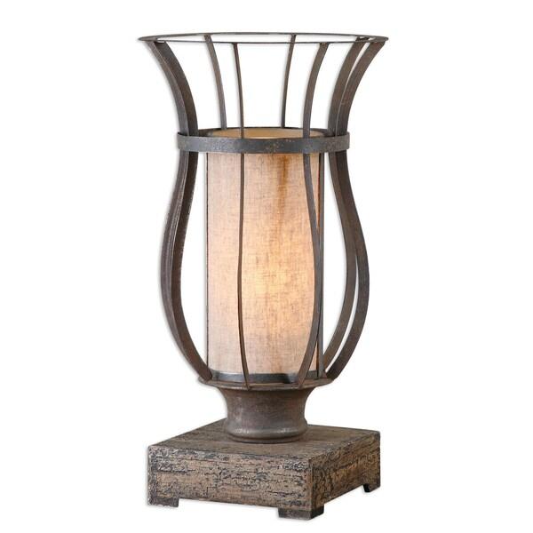 Uttermost Minozzo 1-light Bronze/ Wood Table Lamp