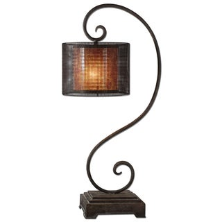 Uttermost Dalou Scroll 1-light Rustic Dark Bronze Table Lamp