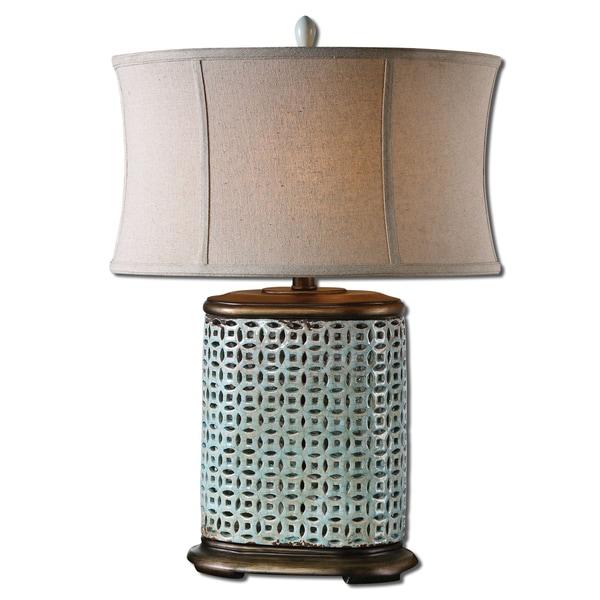 Uttermost Rosignano 1-light Aged Blue Table Lamp