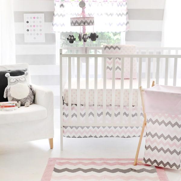 My Baby Sam Pink Chevron Baby 3-piece Crib Bedding Set