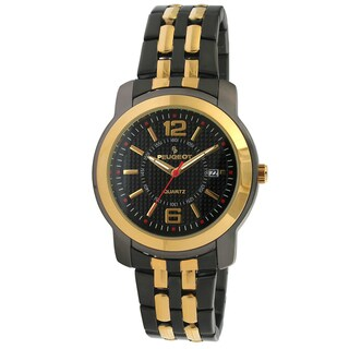 Peugeot Men's Gold-Tone Black Bracelet Watch