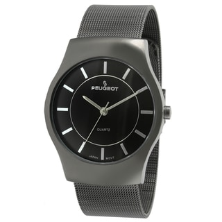 Peugeot Men's Gun Metal Mesh Bracelet Watch