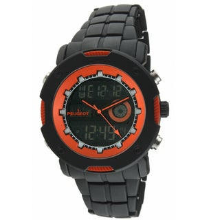 Peugeot Men's Digital Chronograph Black Orange Watch