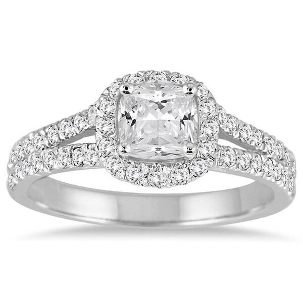 Marquee Jewels 14k White Gold 1 1/2ct TDW Cushion-cut Diamond Engagement Ring (I-J, I1-I2)