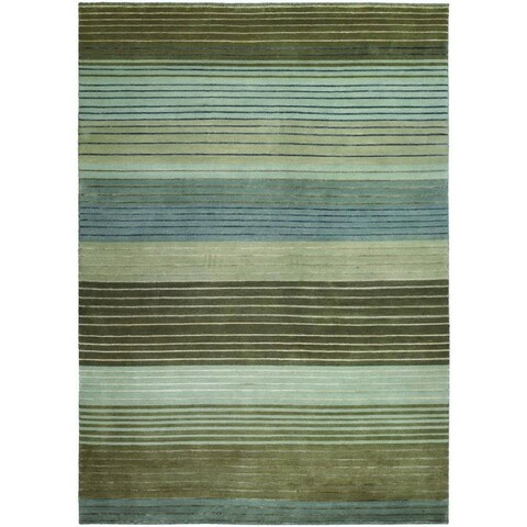 Couristan Pokhara Figaro Brown/ Blue Wool Area Rug - 3'6 x 5'6