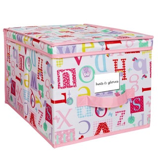 Collapsible Design Lid Pink, White Fun Kids Owlphabet Pattern Large Storage Box