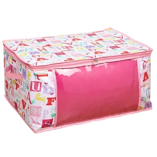 Pink, White Owlphabet Pattern See Through Front Panel Closet Organizer Blanket Bag