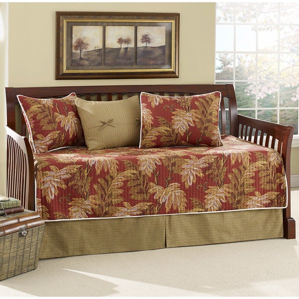 Shop Tommy Bahama Orange Cay Quilted 5 Piece Daybed Set
