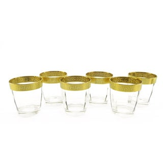 Hand Painted 4-inch Double Old Fashion Glassware (Set of 6)