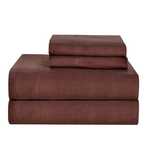 Celeste Home Ultra Soft Solid Brown Flannel Sheet Set